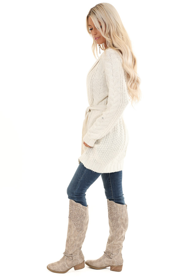 White Long Sleeve Cable Knit Cardigan with Waist Tie side full body
