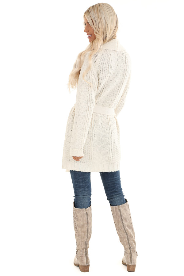 White Long Sleeve Cable Knit Cardigan with Waist Tie back full body