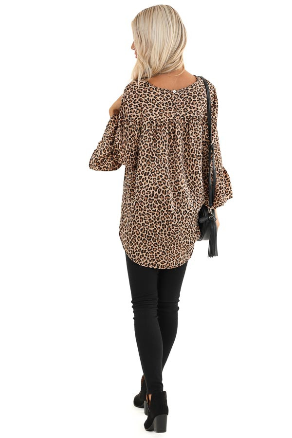 Mocha and Black Leopard Print Long Sleeve Silk Ruffle Top back full body