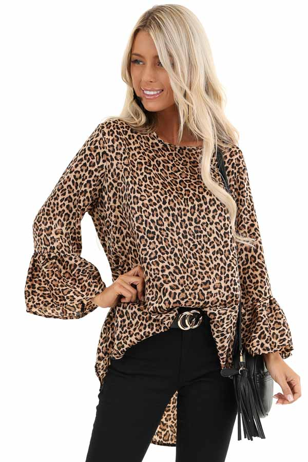 Mocha and Black Leopard Print Long Sleeve Silk Ruffle Top front close