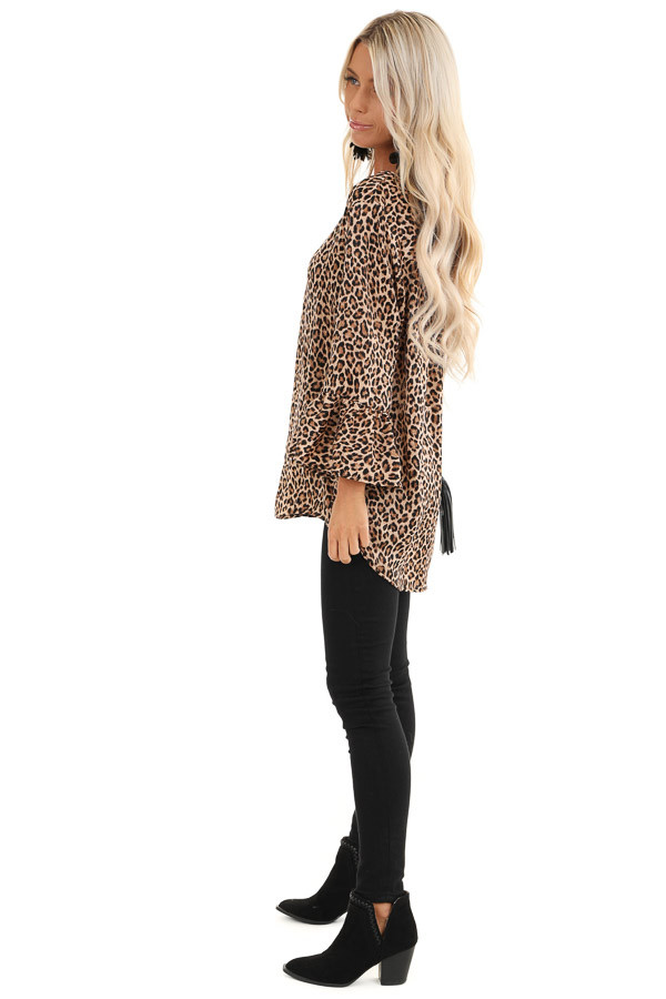 Mocha and Black Leopard Print Long Sleeve Silk Ruffle Top side full body