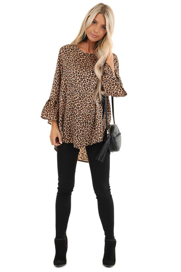 Mocha and Black Leopard Print Long Sleeve Silk Ruffle Top front full body