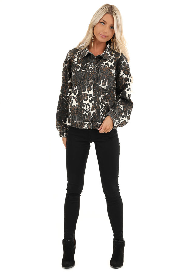 Chocolate and Cream Leopard Print Long Sleeve Denim Jacket front full body