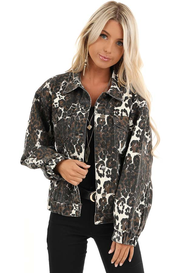 Chocolate and Cream Leopard Print Long Sleeve Denim Jacket front close up