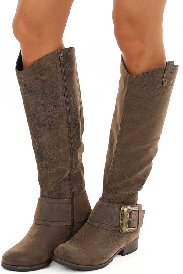 Walnut Zip Up Boots with Antique Gold Buckle Detail side view