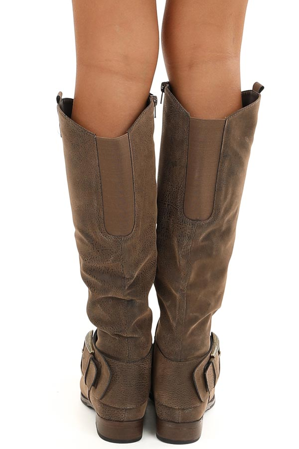 Walnut Zip Up Boots with Antique Gold Buckle Detail back view