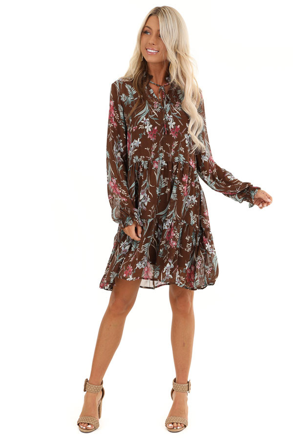 Coco Floral Print Long Sleeve Chiffon Dress with V Neckline front full body