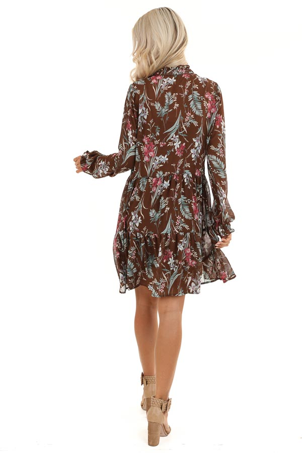 Coco Floral Print Long Sleeve Chiffon Dress with V Neckline back full body