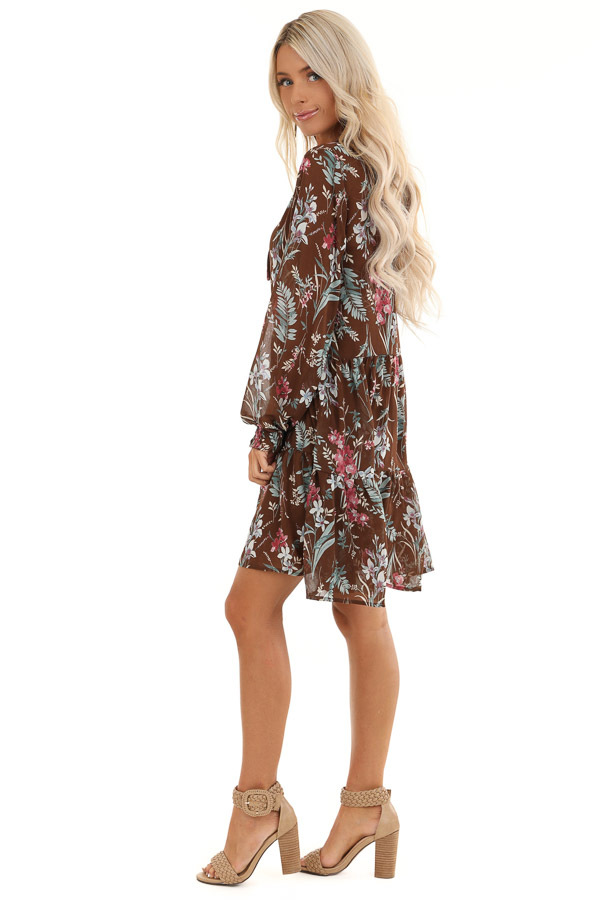 Coco Floral Print Long Sleeve Chiffon Dress with V Neckline side full body