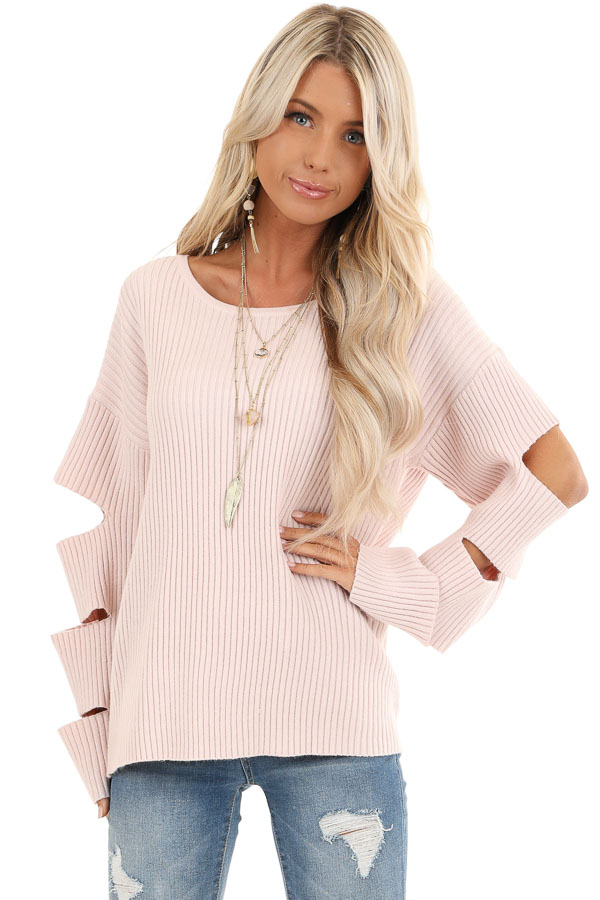Pale Pink Ribbed Round Neck Top with Sleeve Cutout Details front close up