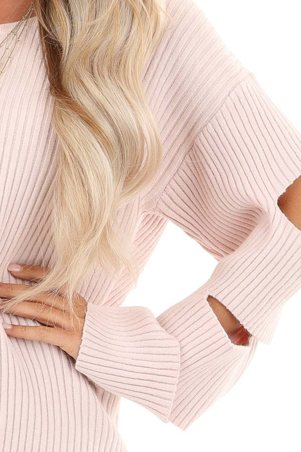 Pale Pink Ribbed Round Neck Top with Sleeve Cutout Details detail