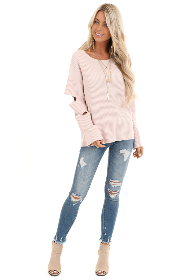 Pale Pink Ribbed Round Neck Top with Sleeve Cutout Details front full body