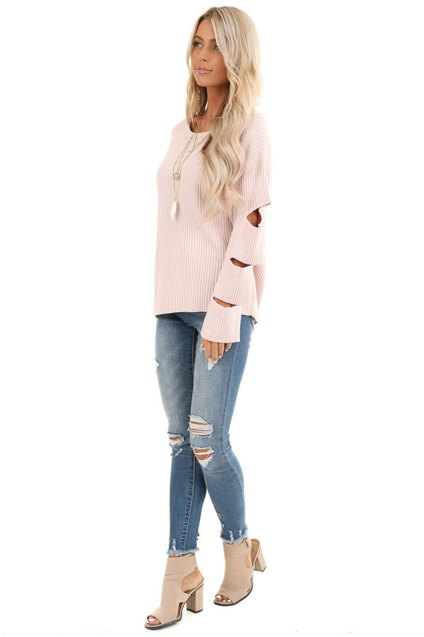 Pale Pink Ribbed Round Neck Top with Sleeve Cutout Details side full body
