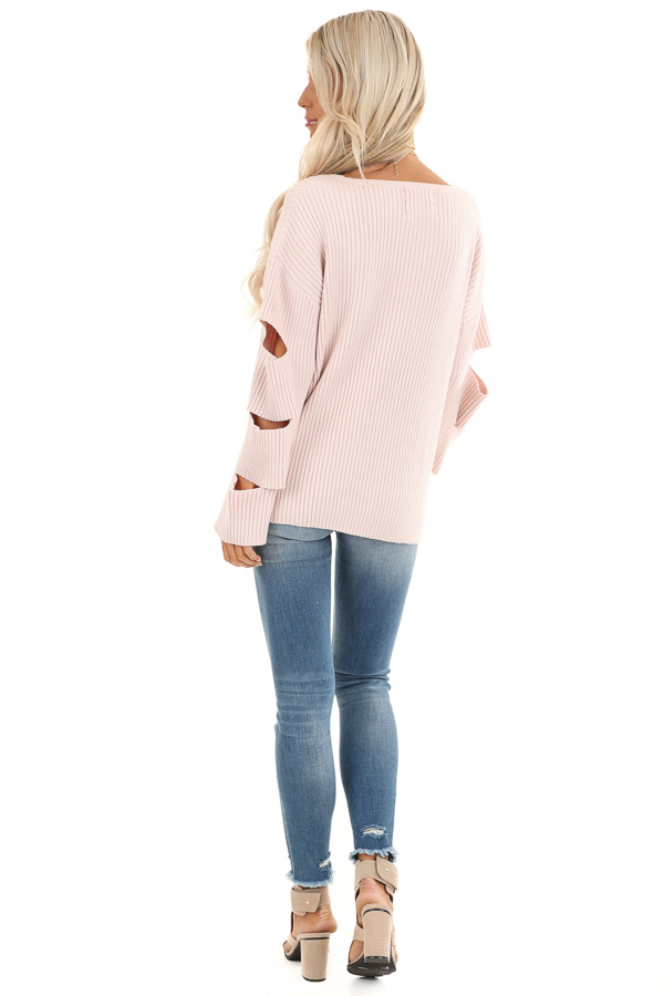 Pale Pink Ribbed Round Neck Top with Sleeve Cutout Details back full body