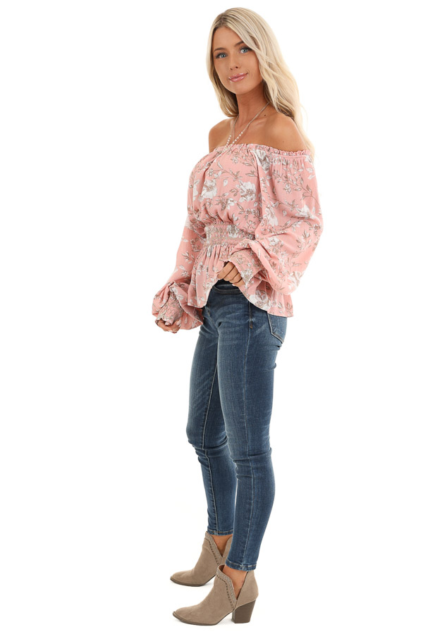 Salmon Off Shoulder Top with Smocked Waist and Cuffs side full body