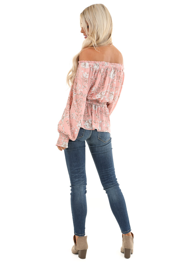 Salmon Off Shoulder Top with Smocked Waist and Cuffs back full body