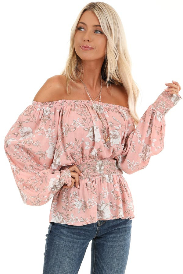 Salmon Off Shoulder Top with Smocked Waist and Cuffs front close up