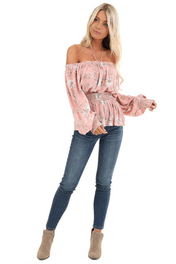 Salmon Off Shoulder Top with Smocked Waist and Cuffs front full body