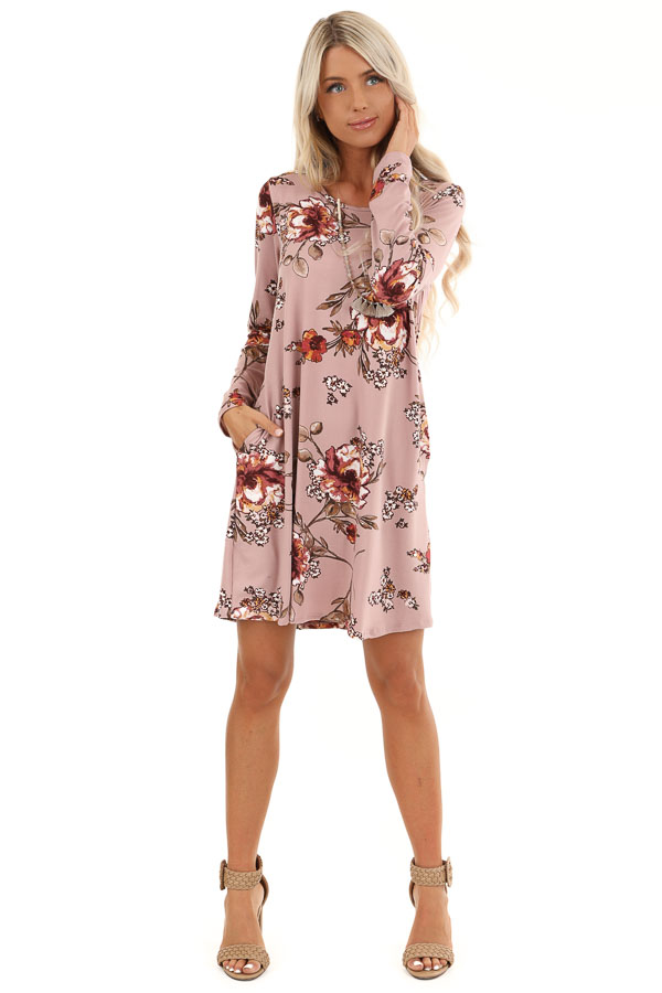 Mystic Mauve and Olive Floral Print Dress with Long Sleeves front full body
