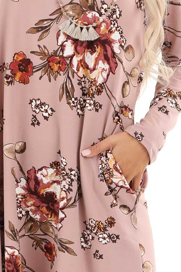 Mystic Mauve and Olive Floral Print Dress with Long Sleeves detail