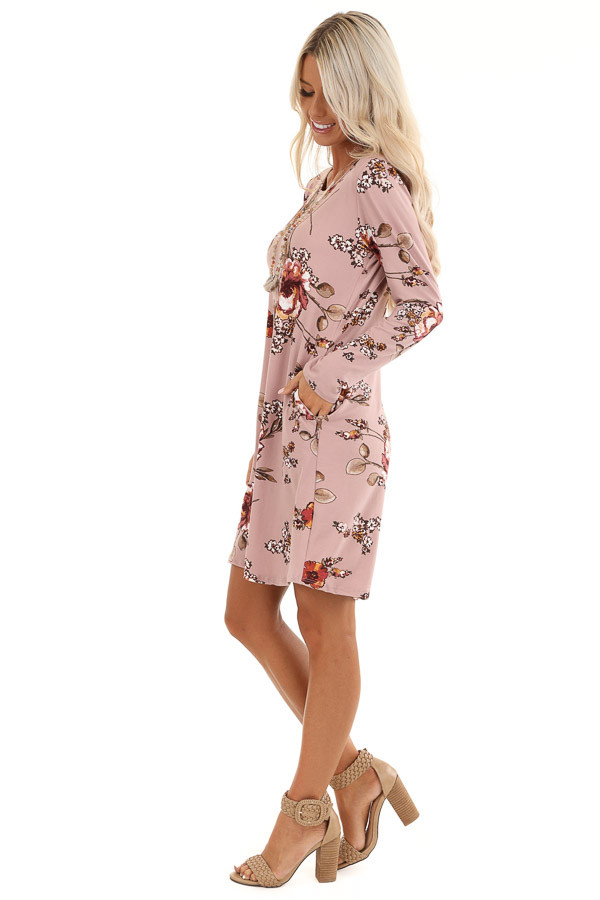 Mystic Mauve and Olive Floral Print Dress with Long Sleeves side full body