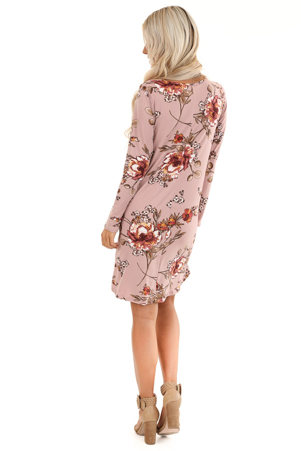 Mystic Mauve and Olive Floral Print Dress with Long Sleeves back full body