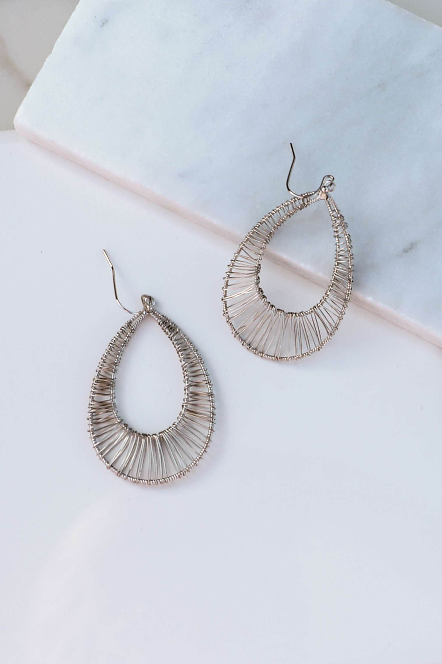 Silver Teardrop Earrings with Wire Wrapped Details