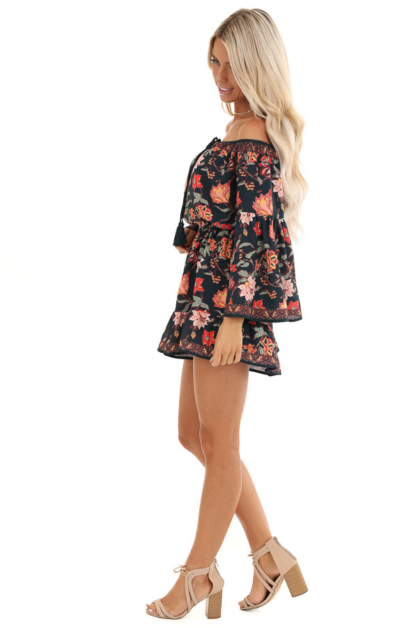 Dark Navy Floral Print Off the Shoulder Romper with Self Tie side full body