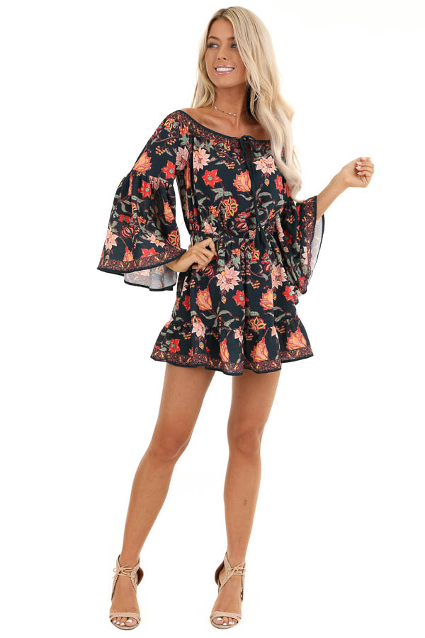 Dark Navy Floral Print Off the Shoulder Romper with Self Tie front full body