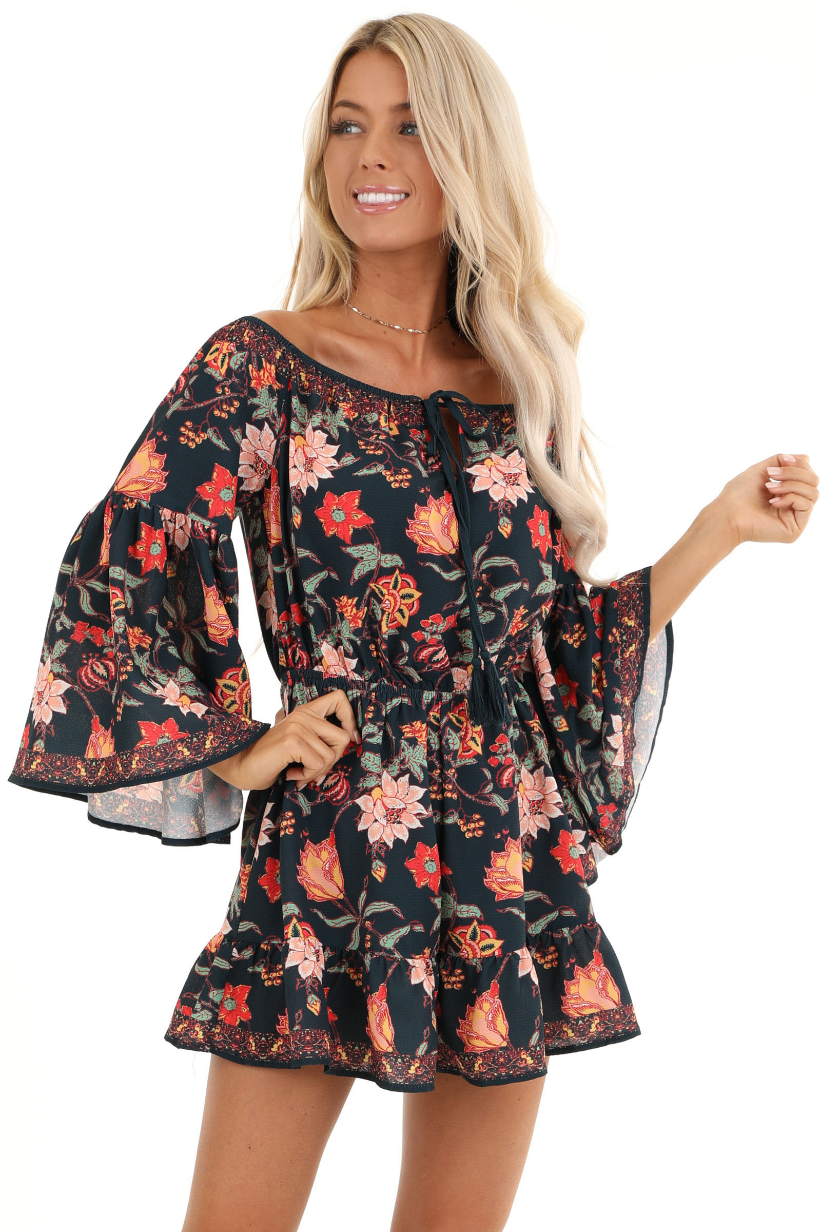 Dark Navy Floral Print Off the Shoulder Romper with Self Tie front close up