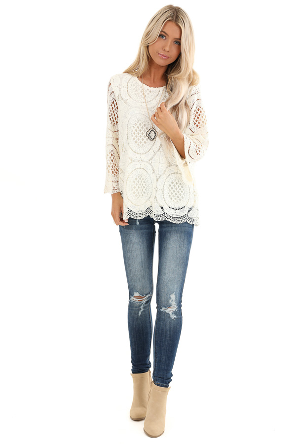 Ivory 3/4 Sleeve Crochet Lace Top with Keyhole Back Detail front full body