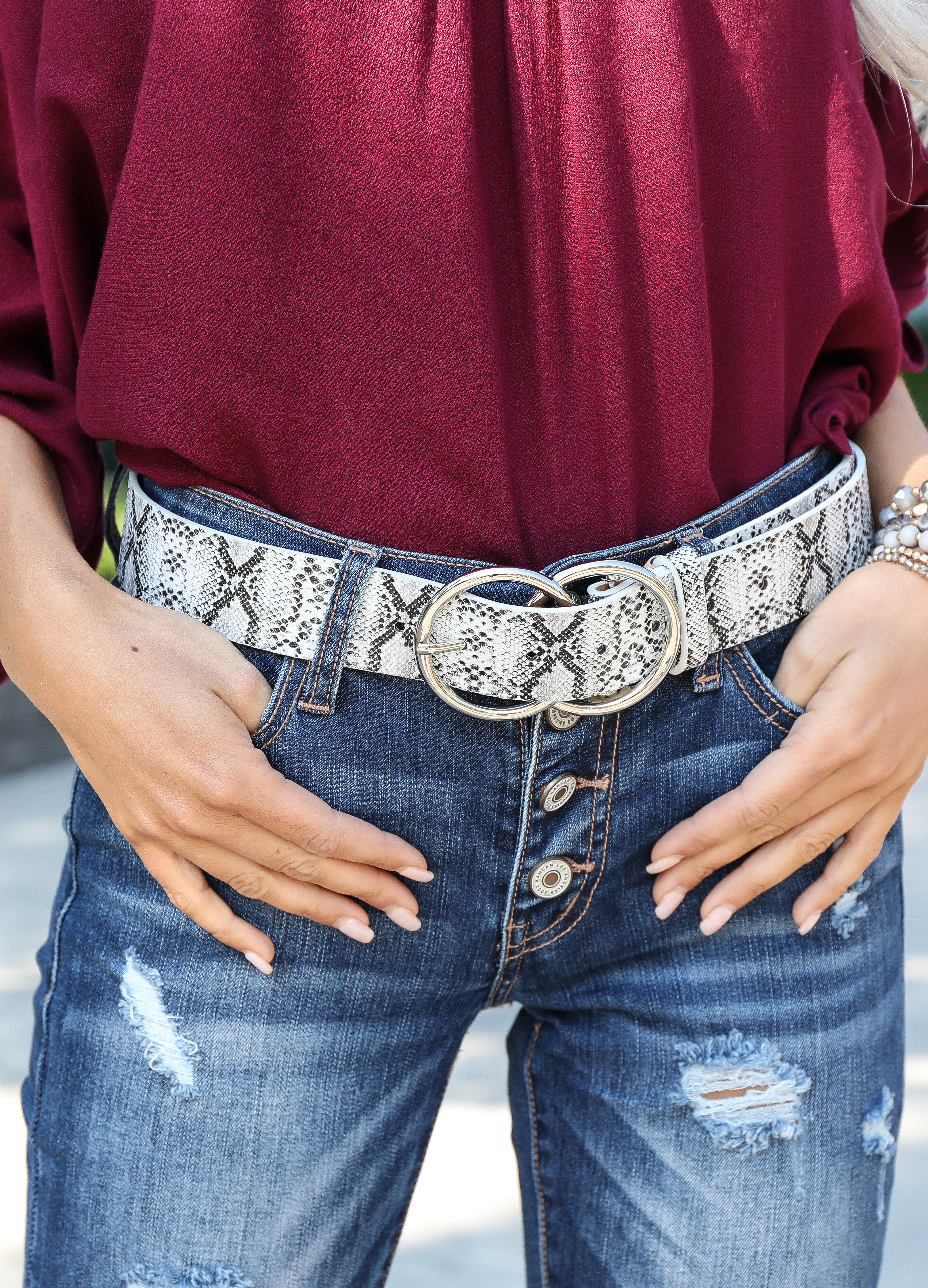 Heather Grey Snake Print Belt with Double Ring Buckle