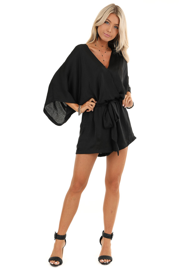 Jet Black Silky Romper with 3/4 Length Sleeves and Waist Tie front full body