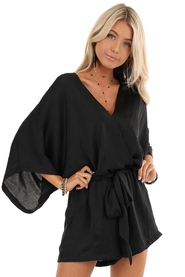 Jet Black Silky Romper with 3/4 Length Sleeves and Waist Tie front close up