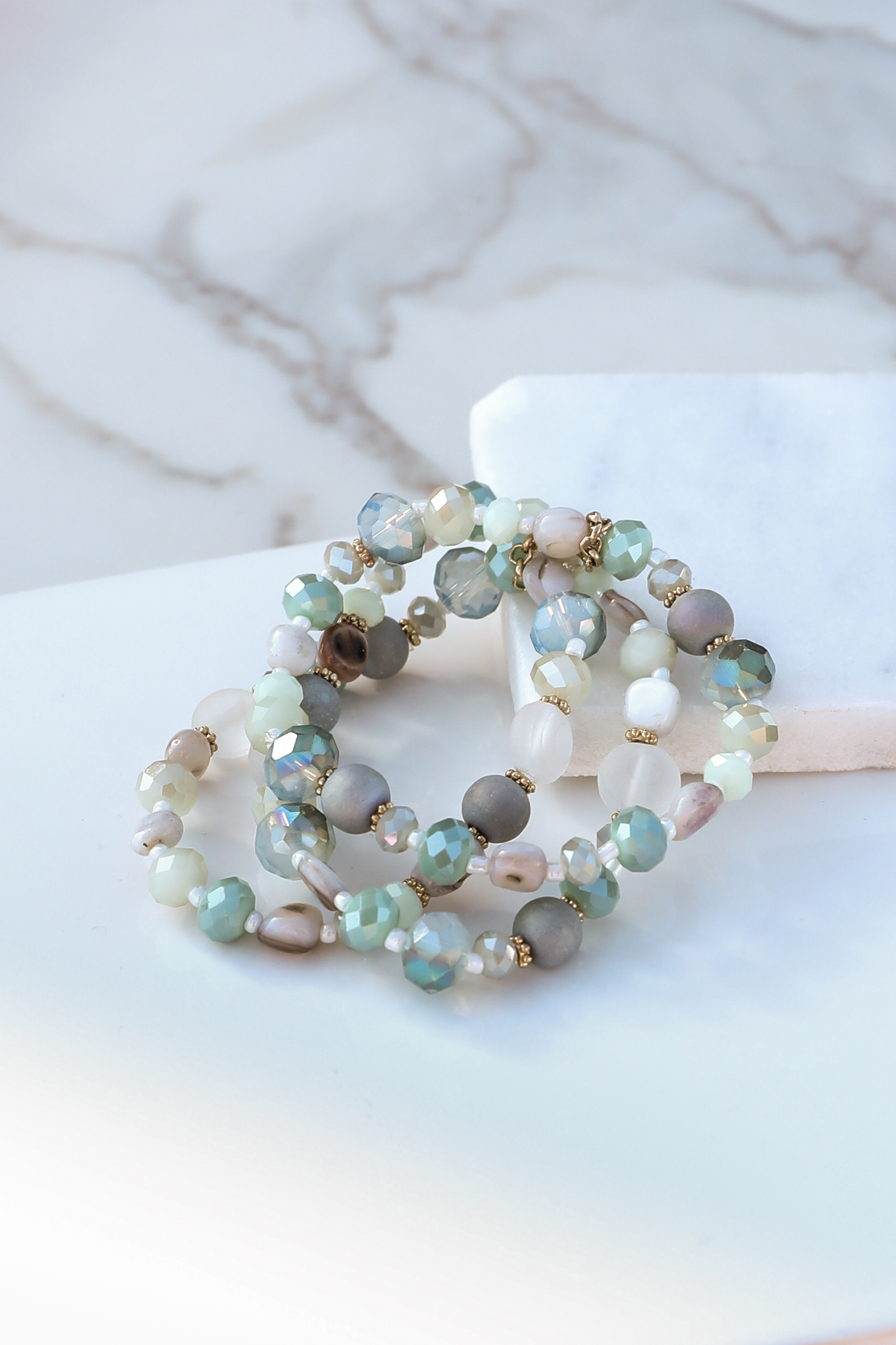 Mint Green and Pearl Beaded Bracelet Set with Gold Accents