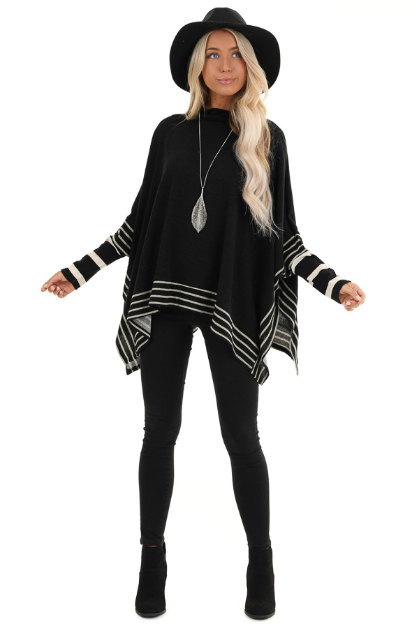 Black Long Sleeve Poncho with Grey Striped Trim front full body