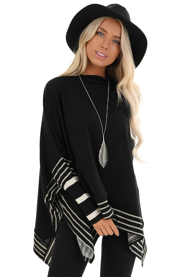 Black Long Sleeve Poncho with Grey Striped Trim front close up