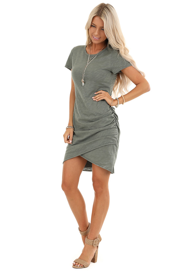 Olive Mini Dress with Side Ruching and Rounded Neckline front full body