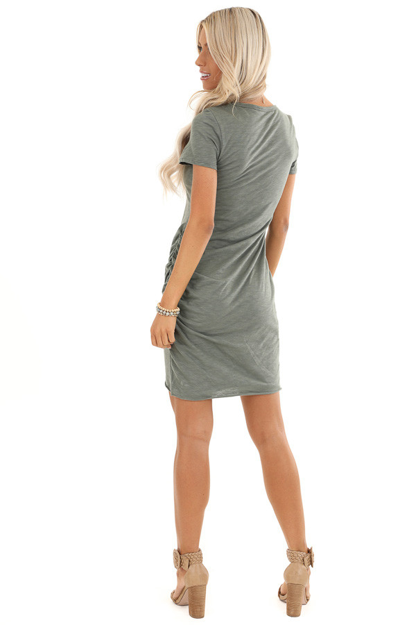 Olive Mini Dress with Side Ruching and Rounded Neckline back full body