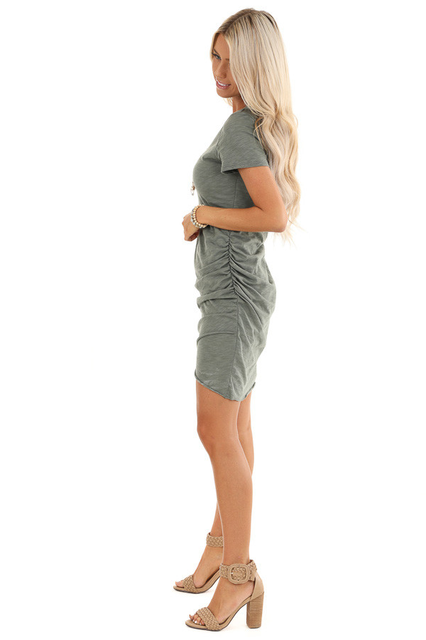 Olive Mini Dress with Side Ruching and Rounded Neckline side full body