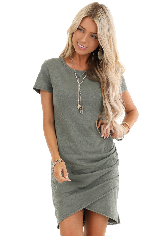 Olive Mini Dress with Side Ruching and Rounded Neckline front close up