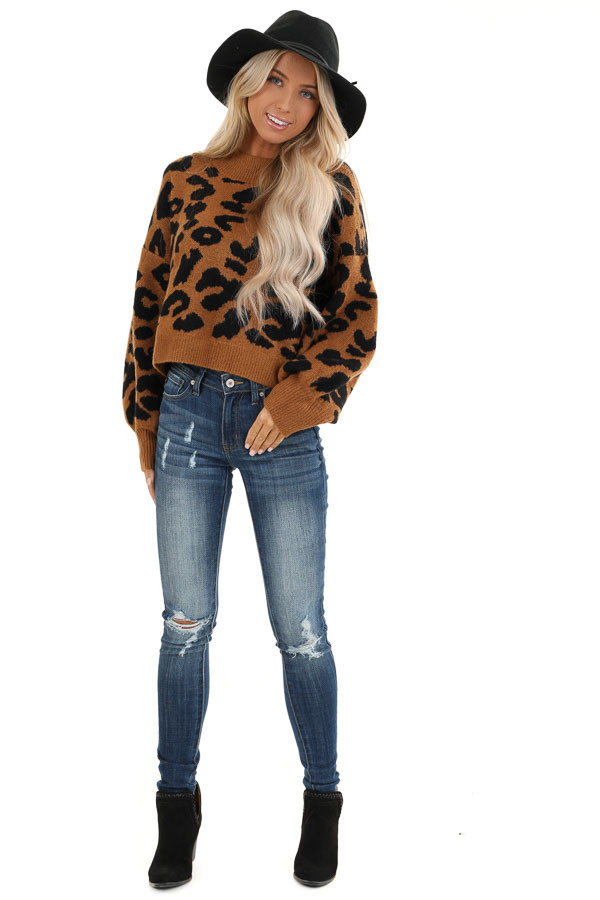Caramel Leopard Print Sweater with Long Bubble Sleeves front full body