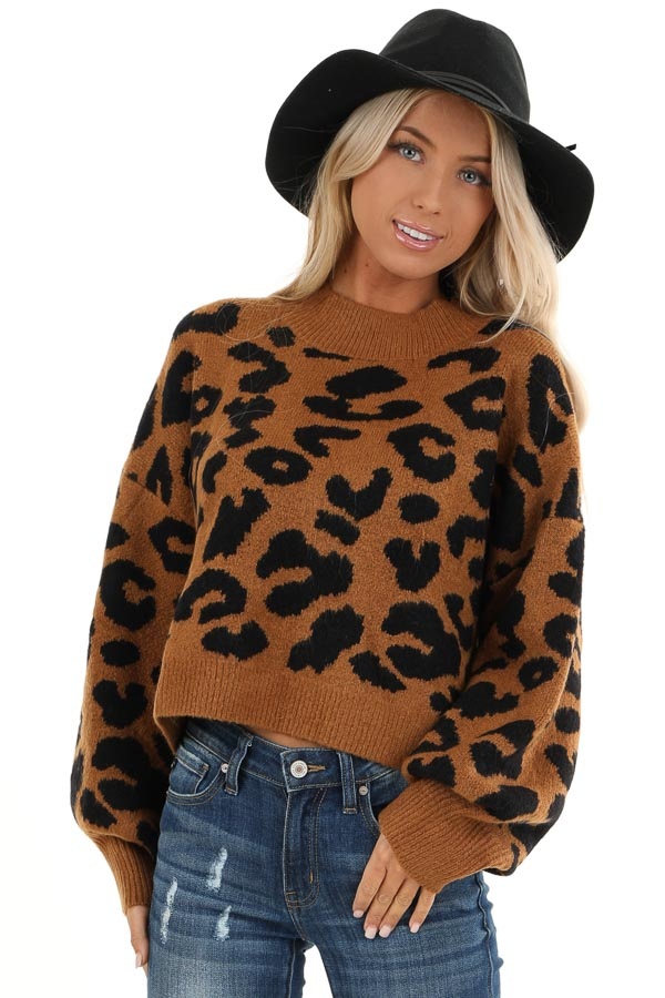 Caramel Leopard Print Sweater with Long Bubble Sleeves front close up