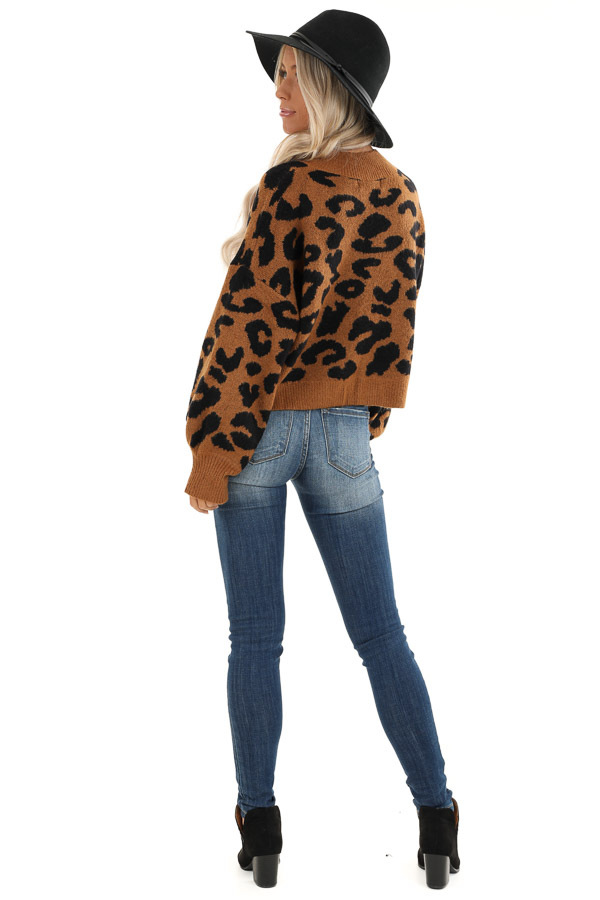 Caramel Leopard Print Sweater with Long Bubble Sleeves back full body
