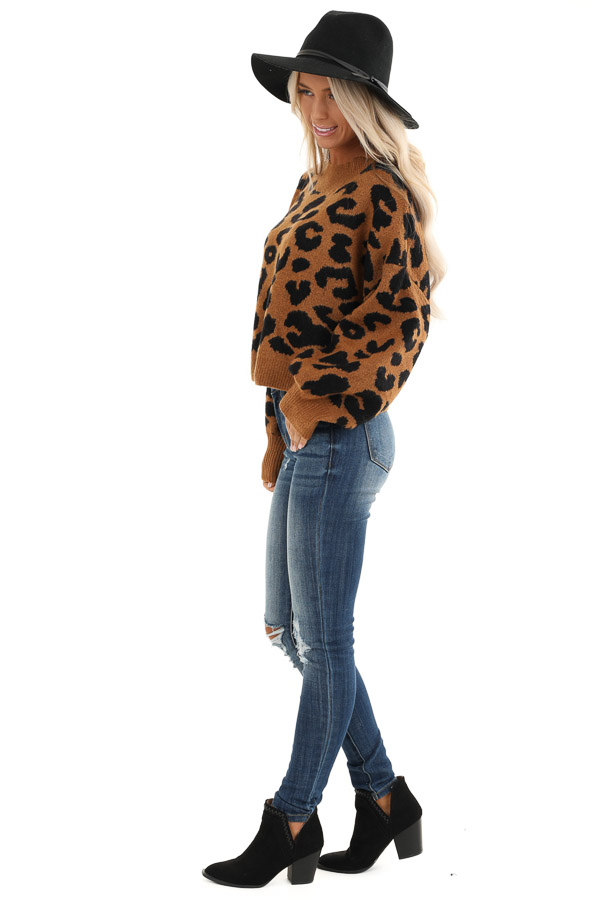 Caramel Leopard Print Sweater with Long Bubble Sleeves side full body