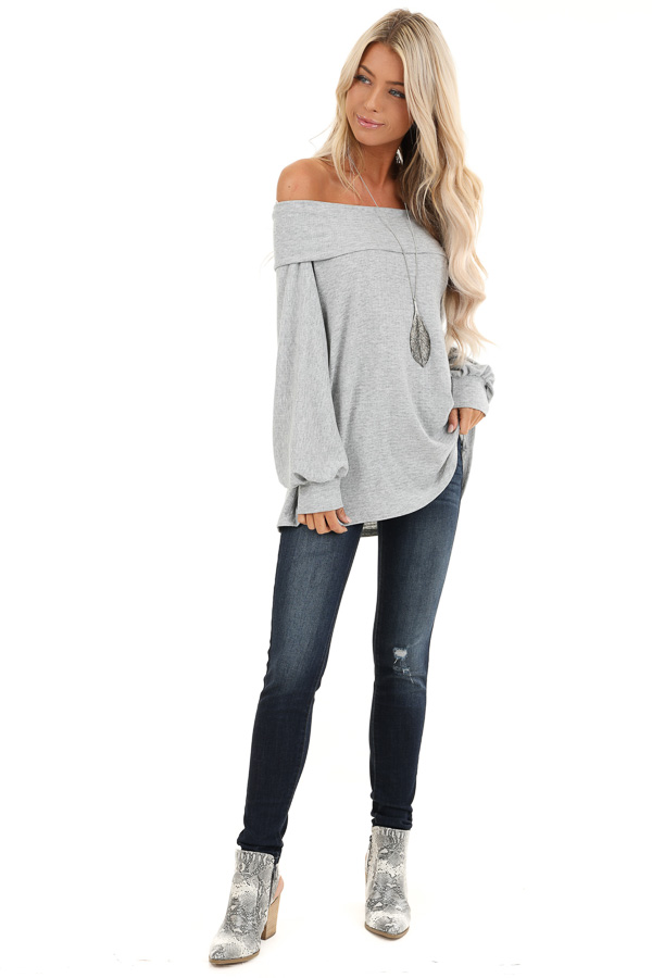Grey Off the Shoulder Waffle Knit Top with Bubble Sleeves front full body