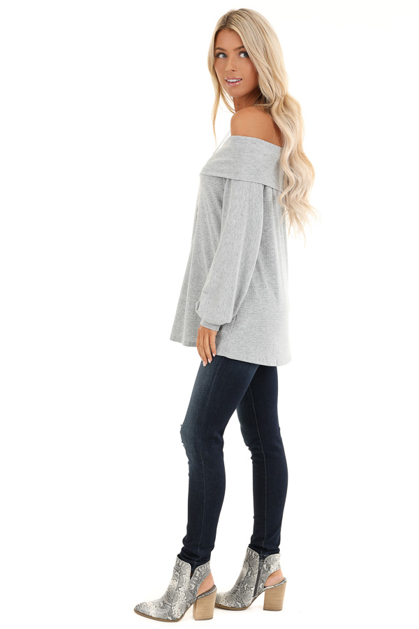 Grey Off the Shoulder Waffle Knit Top with Bubble Sleeves side full body