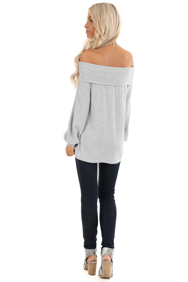 Grey Off the Shoulder Waffle Knit Top with Bubble Sleeves back full body