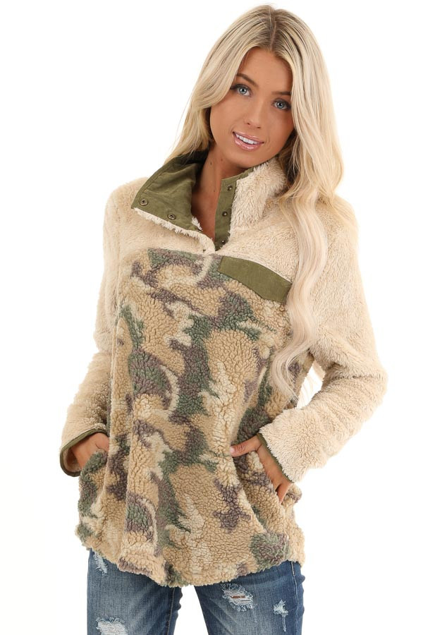Cream with Camo Print Fleece Pullover Jacket front close up