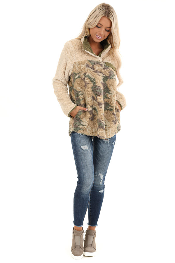 Cream with Camo Print Fleece Pullover Jacket front full body